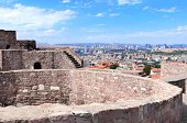 Aerial view of fortress wall of Hisar Castle and capital city Ankara, Turkey. View from Hisar Castle poster