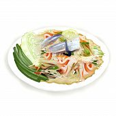 Thai Papaya Salad with freshwater crab.