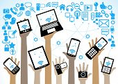 hands of the people hold the phone, laptop, tablet and surrounded by icons of the Internet