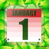 January 2 Icon. Calendar Date For Planning Important Day With Green Leaves. January 2. Banner For Ho poster