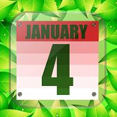 January 4 Icon. Calendar Date For Planning Important Day With Green Leaves. Fourth Of January. Banne poster