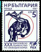 Vintage  Postage Stamp. Freestyle  Wrestling .