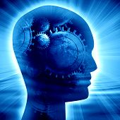 stock photo of science fiction  - Human head silhouette with focus on the brain - JPG