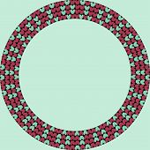 Norwegian Traditional Ornament. Round Frame With Geometric Ornament. Knitting Pattern. Vector. poster