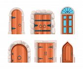 Ancient Doors. Wooden Stone Medieval And Old Building Doors And Gates From Castles Vector Designs. C poster