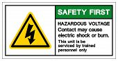 Safety First Hazardous Voltage Contact May Cause Electric Shock Or Burn Symbol Sign, Vector Illustra poster