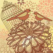 Vogel Montage Käfig Blumen