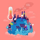 Global Warming Concept. Tiny Characters Care Of Plants On Earth, Factory Pipes Emitting Smoke, Therm poster