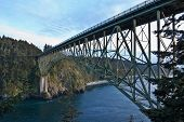 Steel Bridge Over Treacherous Channel Water - Deception Pass, Wa