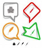 Bildung-Icon-Set. Pinsel, Lake, Feder, Bleistift. Papier-Aufkleber. Raster-Abbildung.