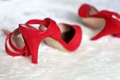 High Heels, Female Fashion, Sexy Shoes. Red Velvet High-heeled Shoes On White Fur Rug poster