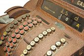 picture of shilling  - an old cash register on a white background