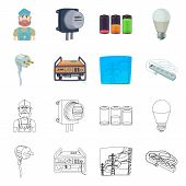 Isolated Object Of Electricity And Electric Symbol. Collection Of Electricity And Energy Stock Symbo poster