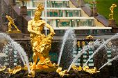 Famous Samson and the Lion fountain in Peterhof Grand Cascade, St. Petersburg, Russia.
