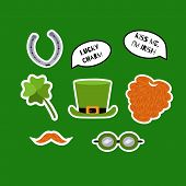 St. Patricks Day Sticker Set. Red Beard, Whiskers, Shamrock, Leprechaun Hat, Horseshoe, Speech Bubbl poster