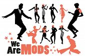 Pop And Soul Dance Clipart Collection. Set Of Mods And Northern Soul Dancers Isolated On White Backg poster