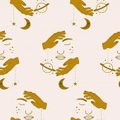 Half Woman Facr, Golden Hands And Celestial Elements In A Seamless Pattern Design poster