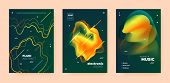 Electro Music Poster. Wave Gradient Blend. Night Club Flyer. Dj Invitation. Yellow Dance Music Poste poster