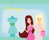 Fashion girls shopping in dresses shop , vector illustration