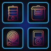 Set Line Music Player , Electric Heater , Double Boiler And Slow Cooker . Gradient Color Icons. Vect poster