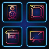 Set Line Smart Tv , Slow Cooker , Stereo Speaker And Bathroom Scales . Gradient Color Icons. Vector poster
