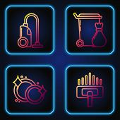 Set Line Vacuum Cleaner, Washing Dishes , Vacuum Cleaner And Trash Can . Gradient Color Icons. Vecto poster