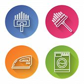 Set Line Vacuum Cleaner, Squeegee, Scraper, Wiper, Electric Iron And Washer . Color Circle Button. V poster