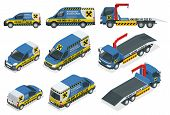 Online Roadside Assistance. Set Of Tow Truck For Transportation Faults And Emergency Cars. Roadside  poster