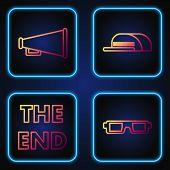 Set Line 3d Cinema Glasses , The End Handwritten Inscription , Megaphone And Cap With Inscription Di poster