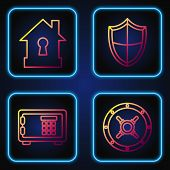 Set Line Safe , Safe , House Under Protection And Shield . Gradient Color Icons. Vector poster