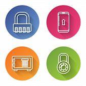 Set Line Safe Combination Lock , Smartphone With Lock , Safe And Safe Combination Lock Wheel . Color poster