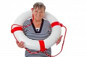 Senior woman with lifebelt