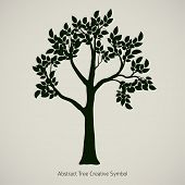 Oak Tree Silhouette. Vector Element Design