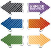 vector striped sticky arrows in six colors