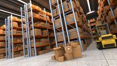 3D rendering of a distribution warehouse with shelves, racks, boxes, forklift,  ideal for background