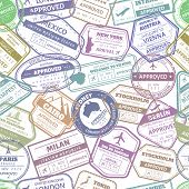 Grunge Travel Stamp Seamless Pattern. Passport Visa International Arrived Stamps. Usa, France And It poster