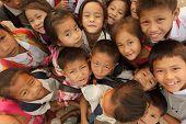 SAYABOURY - FEBRUARY 16: group of joyful unidentified kids posing during the Elefantasia festival on
