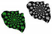 Niamey Region (regions Of Niger, Republic Of The Niger) Map Is Designed Cannabis Leaf Green And Blac poster