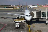 JOHANNESBURG - APRIL 18:Airbus A319 disembarking passengers after domestic flights on April 18, 2012