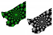 Zinder Region (regions Of Niger, Republic Of The Niger) Map Is Designed Cannabis Leaf Green And Blac poster