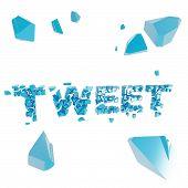 Breaking tweet metaphor, smashed word explosion