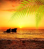 Sunset on the beach, peaceful summer landscape background, beautiful sea view, bright sun shining and calm sea, deep ocean waters, vacation and travel destination poster