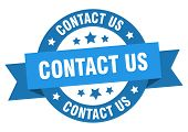 Contact Us Ribbon. Contact Us Round Blue Sign. Contact Us poster