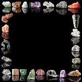 Semi-precious gemstones, metals and minerals.