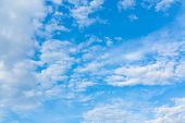 Light Cumulus Clouds In The Blue Sky On A Sunny Day, Full Frame Image, Background poster