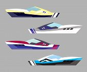 Version Modern Yacht Icons. Ship At Sea Transport, Shipping Boat. Vector Illustration poster
