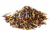 caffeine mix of mate, black tea, and red rooibos with cocoa, chocolate, nuts and cinnamon. pile over white