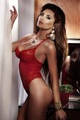 image of cleavage  - Portrait of beautiful sexy brunette woman with long healthy hair posing in red lingerie - JPG