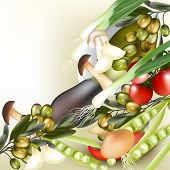 Background With Realistic Vector Vegetables, Onion, Mushrooms, Olives And Pear On White