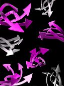 Set of pink arrows on black background isolated